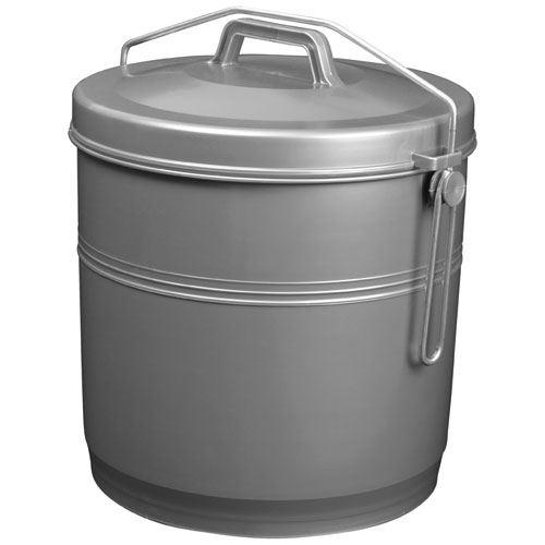 Poubelle etrier 16 litres gris silver aluminium et plastique p16c
