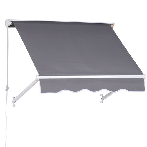 Store banne manuel inclinaison réglable aluminium polyester imperméabilisé 70 x 120 cm gris