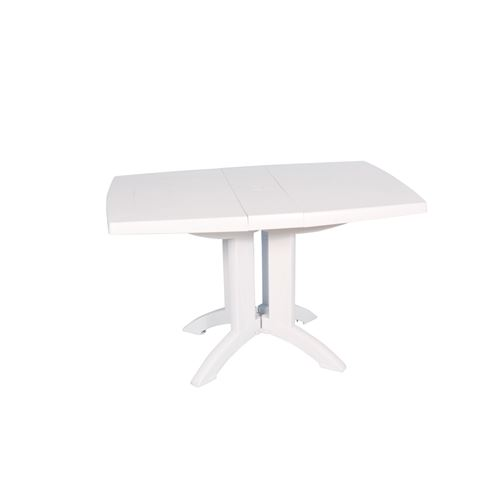 Table rectangulaire de jardin 120x75 cm - Pliable - 2 coloris - Blanc - 110