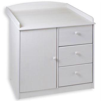 commode table langer rondo pin massif lasur blanc achat. Black Bedroom Furniture Sets. Home Design Ideas
