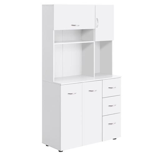 Armoire de cuisine multi-rangements 4 portes 3 tiroirs étagère + grand plateau 89L x 39l x 168H cm MDF blanc