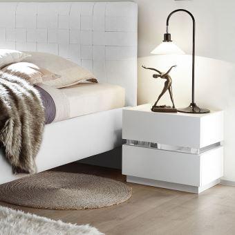 Table de chevet laqu blanc et chrome alfa l 55 x p 40 x - Table de chevet classique ...