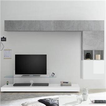 996 91 Sur Ensemble Meuble Tv Blanc Laque Et Gris Lucano L 275 X P 50 X H 190 Cm Achat Prix Fnac