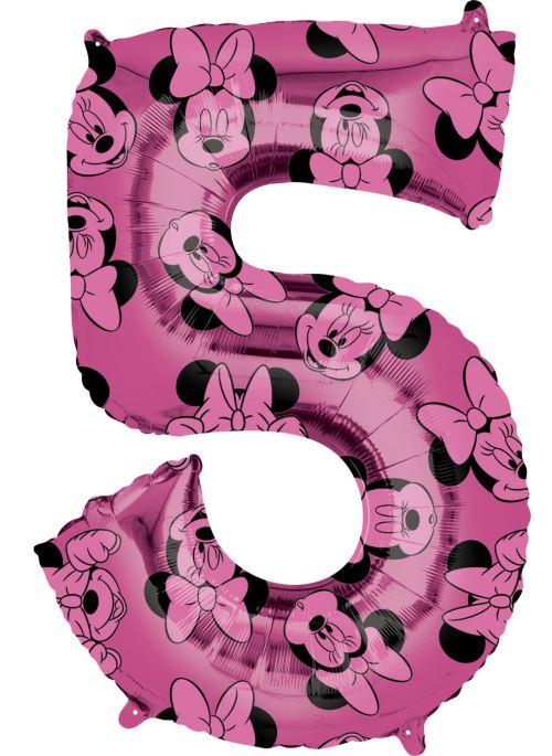 Amscan ballon d'aluminium Minnie Mouse 5 ans junior 45 x 66 cm rose