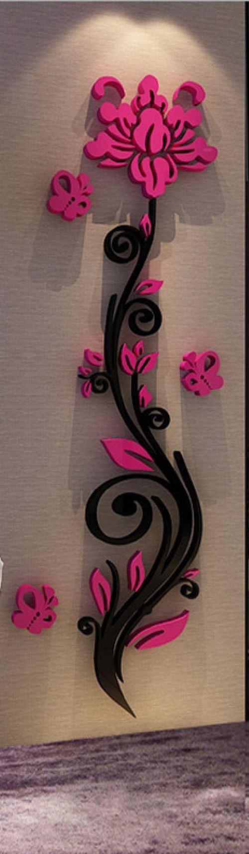 Rose design noire - fuchsia 3D miroir acrylique adhésif (38 x 100 cm)