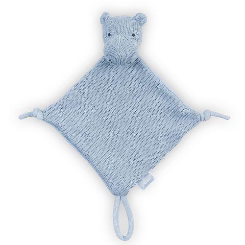 Doudou pour bébé avec attache sucette Soft Knit Hippo - Bleu