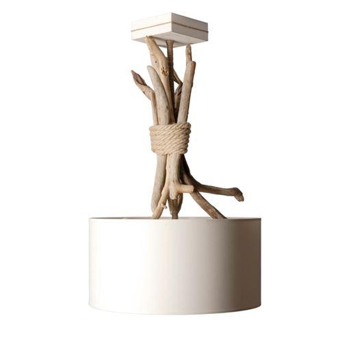 Suspension luminaire ronde en bois flotté - Personnalisable - Fabriqué à la main en France (Blanc) - couleuretpersonnalisation : Blanc avec personnalisation