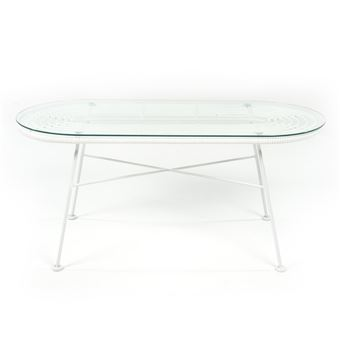 Table de jardin ovale en verre et acier blanc pieds blanc ACAPULCO ...