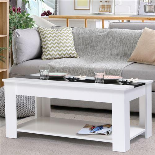 Table basse contemporaine bois blanc et noir GEORGIA