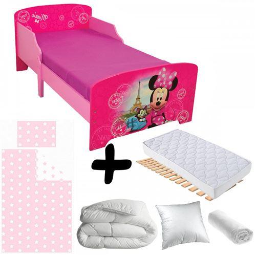 Pack complet Premium Lit Paris Minnie Mouse Disney = Lit+Matelas & Parure+Couette+Oreiller