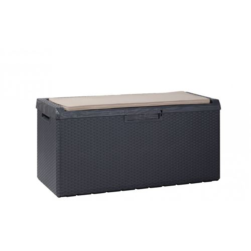 Coffre de Jardin 350L Noir Portonovo avec Coussin L123xP54xH59 cm Resine Anti UV Haute résistance gel et intempéries