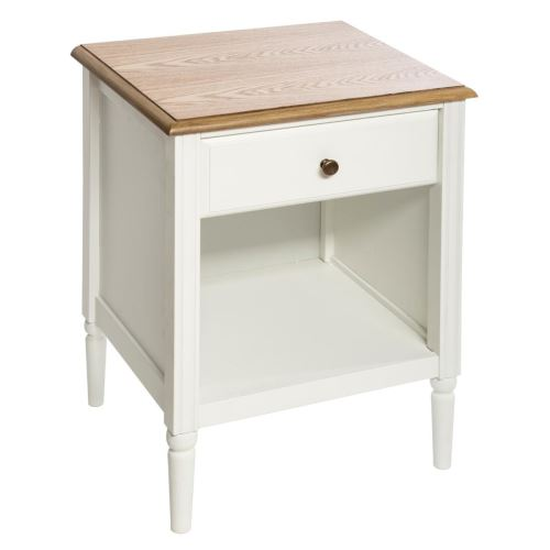 Table de chevet avec 1 tiroir coloris blanc - L. 45 x l. 40 x H. 60 cm -PEGANE-