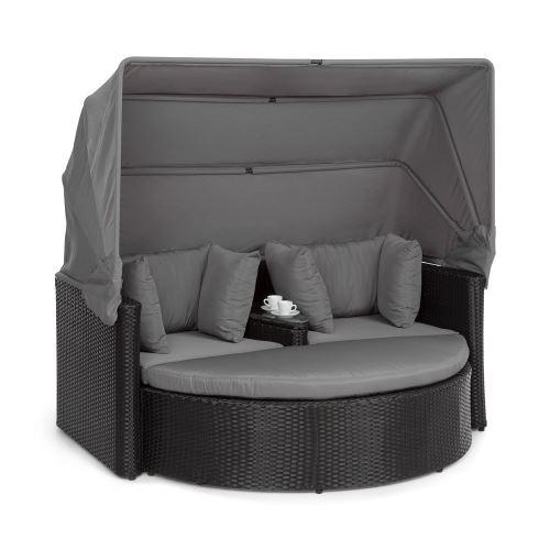 Blumfeldt Heartland Canapé lounge de jardin 2 places avec tabouret , table & parasol pliable , charge 160kg - Polyrotin - Gris