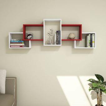 Étagère Berril Moderne Blanc, Rouge - Pour Chambre, Séjour, Bureau -  Soutien, Mur