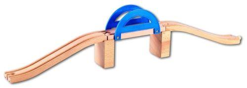 Pont bleu en bois - circuit train - jouet en bois - accessoire - beeboo ref16496