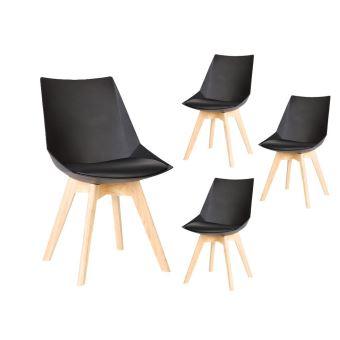 lot de 4 chaises scandinaves noam avec coussin et pieds bois couleur noir achat prix fnac - Chaises Scandinaves Couleur