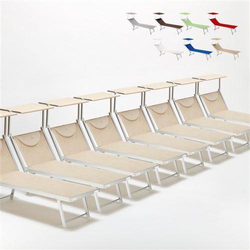 Bain de soleil chaises longue transats Lits de plage piscine aluminium jardin Santorini 20 pcs, Couleur: Beige