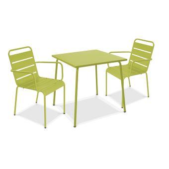 Table de jardin carrée en métal et 2 fauteuils, Palavas ...
