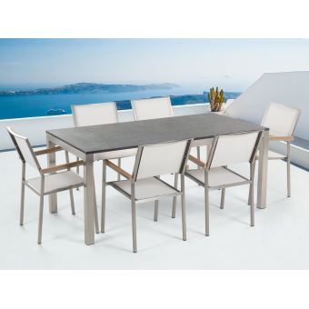 Beliani Table De Jardin Acier Inox Plateau Simple En Granit 180
