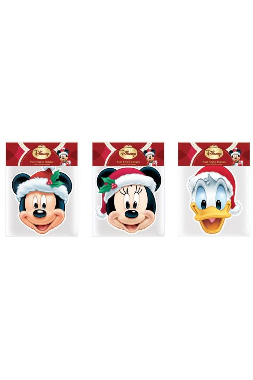 6 Masques Carton Adulte Mickey Et Friends Noel™ - Multicolores