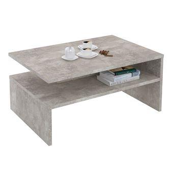 Table Basse ADELAIDE, Table De Salon Rectangulaire Avec Compartiment De  Rangement Ouvert, En Mélaminé Décor Béton