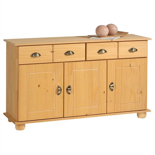 Buffet COLMAR en pin massif, 2 tiroirs et 3 portes, finition cirée