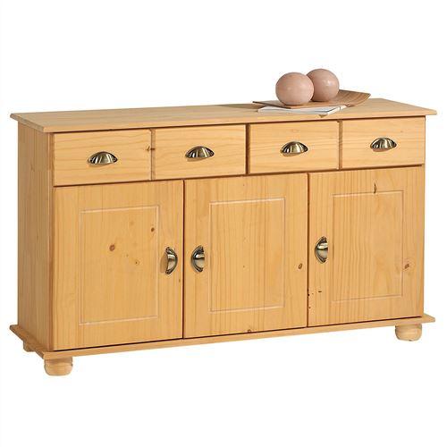 Buffet COLMAR commode bahut vaisselier meuble bas rangement avec 2 tiroirs et 3 portes, en pin massif ciré