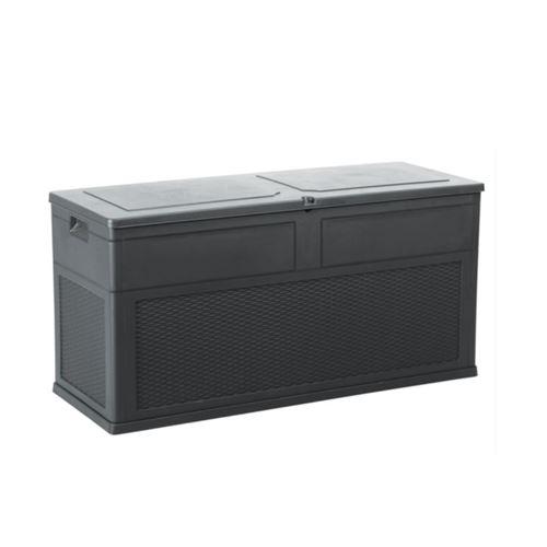 Coffre de Jardin 320 L Anthracite Noir TOSCANE 119xP46xH60 cm Resine Anti UV Haute résistance gel et intempéries