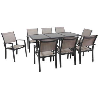 salon de jardin extensible 120/180 tropic 8 - phoenix - anthracite/taupe- 1  table + 8 fauteuils