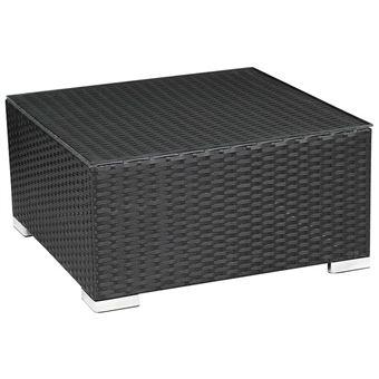 table basse carrée résine tressée ibiza - atlanta - noir