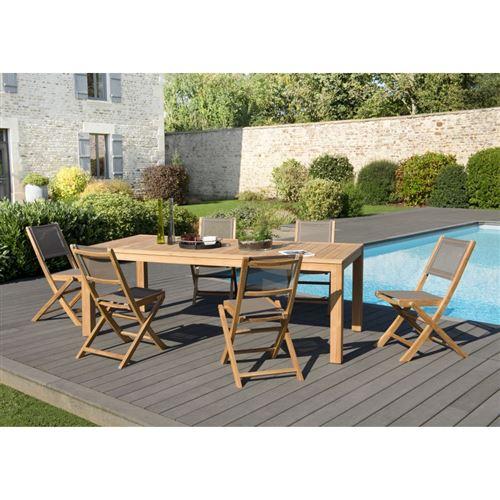 Salon de jardin bois Teck: 1 table à manger VIESTE 220*100cm + 3 lots de 2 chaises pliantes textilène taupe