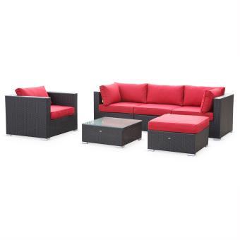 Salon de jardin table en résine tressée 5 places noir rouge Caligari canapé  fauteuil - Alice\'s Garden