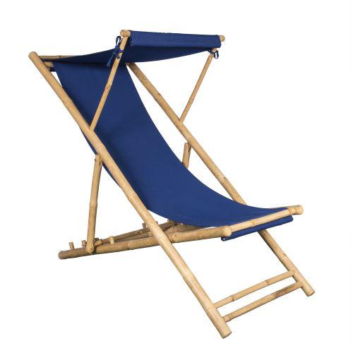 Chilienne en Bambou et Toile Bleue Indigo 155 X 66 cm, Toile détachable, Casquette Amovible