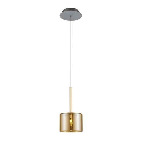 HOMEMANIA Lampe à Suspension Bibu Chandelier - à Cylindre - de Plafond - Miel en Verre, 14 x 14 x 120 cm, 1 x G4 Led , 20W