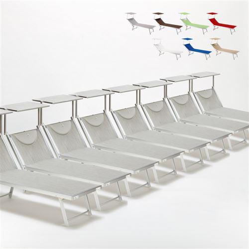 Bain de soleil chaises longue transats Lits de plage piscine aluminium jardin Santorini 20 pcs, Couleur: Gris