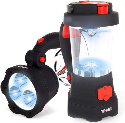 Duronic Hurricane Lampe torche lanterne à dynamo USB Lanterne à 10 LED Signal d'urgence rouge clignotant Lampe torche à 3 LED