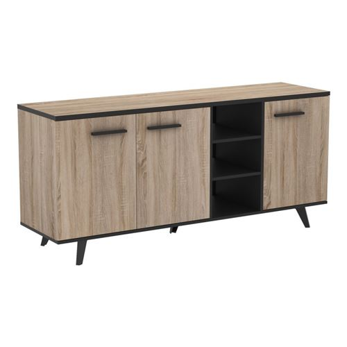 Paris Prix - Buffet 3 Portes & 3 Niches ella 160cm Naturel