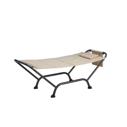 Hamac avec support en acier lit de jardin terrasse avec coussin Maldive Beige