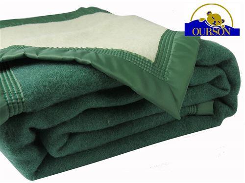 Couverture pure laine woolmark ourson 600 gr vert 220x240