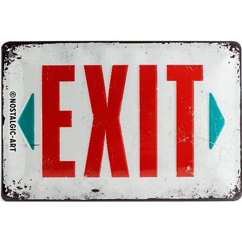 Nostalgic-Art 22218 Plaque rétro en tôle avec inscription Exit 20 x 30 cm
