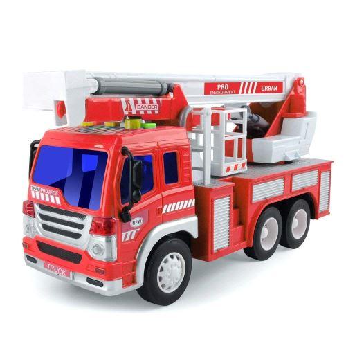 Jouets Enfants 3 Ans Camion de Pompiers Voiture Véhicule de Secours avec Son et Lumière Firetruck sans Piles Cadeau (1 Pompier)