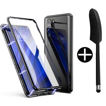 Etui Coque Huawei P30 Lite Version 2.0, 360 Degrés Avant et arrière Verre trempé, Etui d'adsorption Magnétique Bumper Métal Frame