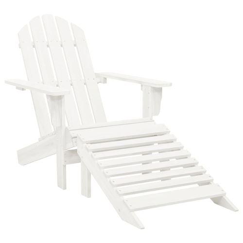vidaXL Chaise de jardin avec pouf Bois Blanc