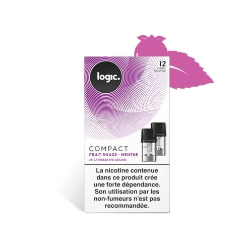 Logic E-Liquide en Capsule Logic Compact – Fruit Rouge/Menthe 12 mg/ml