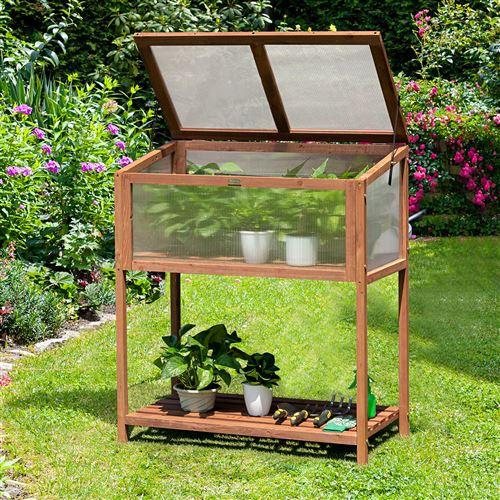 serre de jardin sur pied giantex en bois avec etagère de rangement châssis de jardin dessus ouvrable réglable 90 X 49 X 104,5cm pour arrière-cour patio jardin