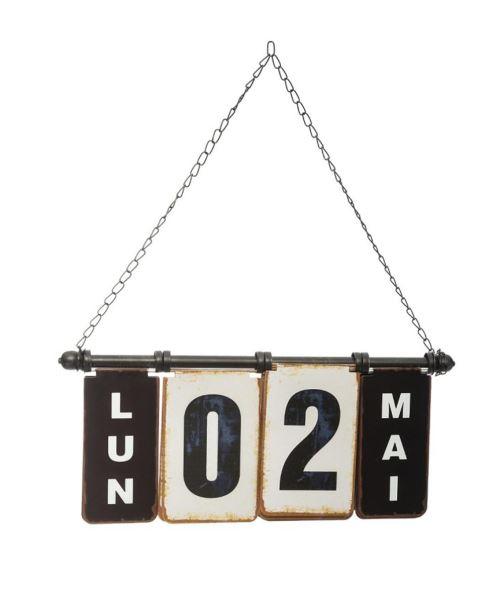 Calendrier à suspendre coloris blanc / noir - L. 42 x l. 2,5 x H. 18 cm -PEGANE-