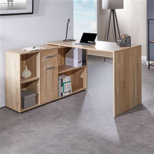 CARMEN d'angle avec 1 et meuble étagères et table avec de rangement modulable Bureau 1 chêne sonoma 4 porte intégré tiroirdécor OyvPNnm80w