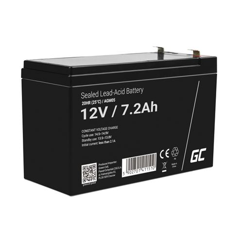 Green Cell AGM Batterie au plomb 12V 7.2Ah