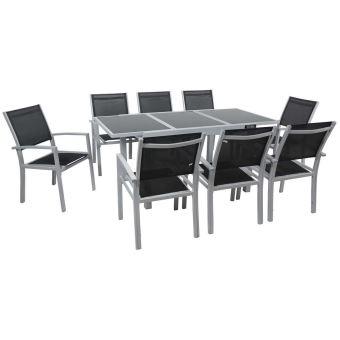 salon de jardin extensible 120/180 tropic 8 - phoenix - argent/noir- 1  table + 8 fauteuils