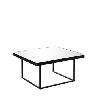 table basse mtal noir avec plateau miroir block l 75 x l 75 x h 38 achat prix fnac